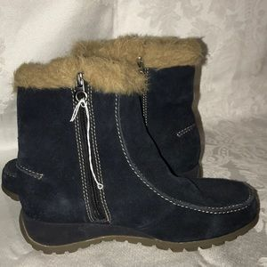 Sports suede leather faux fur zip booties blue 9 W